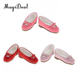 Zapatos de vestir princesa online-1/6 Fashion Princess Doll Bowknot zapatos de cuero Pisos para BJD Doll Dress Up Accesorios