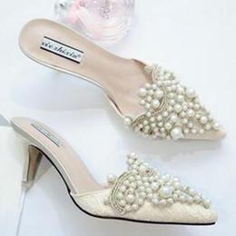Жемчужные стразы туфли на высоких каблуках для дамы острым носом обувь розовый и бежевый сандалии размер 35-39 бесплатная доставка supplier beige pointed heels от Поставщики бежевые каблуки
