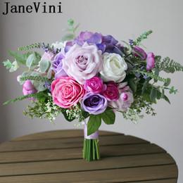 2019 broches lila JaneVini Ramo de novia romántico Flores de boda Lila Rosa púrpura Seda Ramo de novia artificial Puntada Broche de boda occidental 2019 broches lila baratos