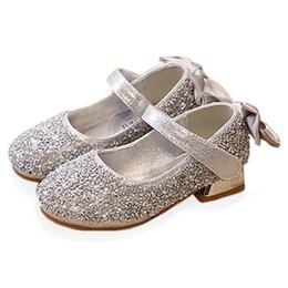 e3f1f9858217 Bekamille Kids Shoes for Girls Princess Autumn Bow Glitter Leather Shoes  with Heel Children Girls Baby Infant Party