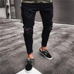 Pantalons cargo jeans slim hommes en Ligne-Jeans skinny déchirés pour hommes de la mode, détruits, effilochés, évasés, coupe slim, pantalon en denim, fermeture à glissière, noir