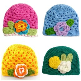 chapeaux de filles Promotion Printemps Crochet bébé fille Chapeau douche de bébé Cloche Beanie Nouveau-Né Photo Prop Chapeau En Tricot Avec Fleur H950S