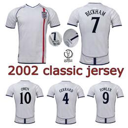 Vintage j on-line-2002 Beckham Scholes Owen camisa De Futebol FOWLER J. COLE HESKEY FERDINAND Gerrard Clássico 2002 copa do mundo em casa camisa de Futebol do vintage branco