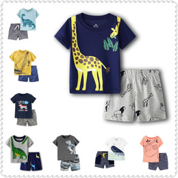 dino dinosaur Promo Codes - 3D Dino Infant Boys Summer T-Shirts + Shorts Pants 2-Pieces Clothing Set Dinosaur Boy Outfit Cotton Toddler Tracksuit 6-24Month