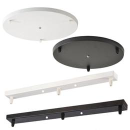 Plafones lámparas online-Luces colgantes Placa de techo negra / blanca tira larga Placa de disco de placa redonda que cuelga Lámparas colgantes LED Accesorios especiales