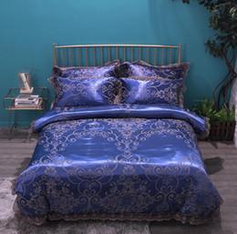 Blu royal raso di cotone jacquard di seta copripiumino biancheria da letto set di lusso king size queen lenzuolo set federe di nozze tessili per la casa da