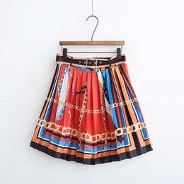Argentina Posición de la moda de las mujeres de la cadena de impresión de Inglaterra falda plisada faldas mujer damas de colores raya fajas ajustables faldas QUN241 Suministro