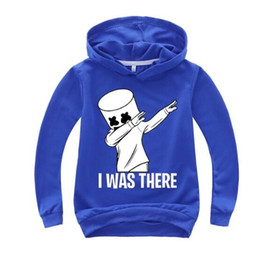 Camiseta de la música dj online-primavera y otoño Moda Marshmello DJ Música Dibujos animados Ropa para niños Sudaderas Chicos Chicas Camisetas de manga larga Sudadera con capucha