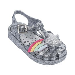 girls casual sandals Promo Codes - Close Toe 3D Rainbow Star Patch Girls Casual Beach Sandals 2019 NEW mini lissa Soft Bottom Kids Shoes Sandals Girls Jelly Shoes