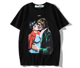vampire t shirts Promotion 2019 été mens designers t-shirt de luxe hors t-shirt kiss Zombie Vampire imprimé flèche logo tendance tee