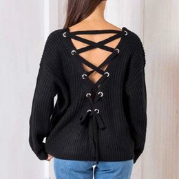 315675624055 Sexy Backless Knitting Pullover Fashion Lace Up Autumn Winter Sweater Women  Tops Casual Hollow Out Jumper Pull Femme