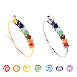 Bangle di moda di buddha online-Moda 7 Chakra filo Bangle per le donne Yoga pietra naturale perline braccialetti di fascino Reiki Buddha spirituale 2019 gioielli personalizzati in massa