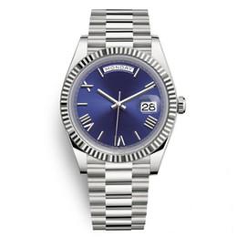 Мужские часы серебряные онлайн-Daydate роскошные мужские часы Президент автоматические часы мужчины Серебряный ремешок синий циферблат Корона часы мужчины швейцарский дизайнер часы день дата 40 мм 2019