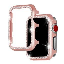 Rhinestone reloj bandas online-Cubierta protectora de alta calidad Rhinestone Shell duro para Apple Watch Case Series 38mm 42mm 40mm 44mm para iWatch Band Rhinestone