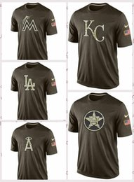 2019 angelo città Men's Mimi Marlins Houton Astros Kasas City Royals Los Angles Angels Los Angeles Dodgers Salute To Service T-Shirt