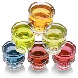 Vendere la tazza online-creativo di vendita CALDO teschio di cristallo della vodka della testa di vini colpo Coppe Piratiano birra tazza di vetro trasparente bicchiere Coppa T9I00117