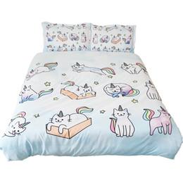 2020 reina del edredón del gato 3D gato unicornio funda nórdica suave edredón almohada cubierta Shams gato del unicornio del arco iris Cama Fundas Nórdicas gato Colcha 225x240CM reina del edredón del gato baratos