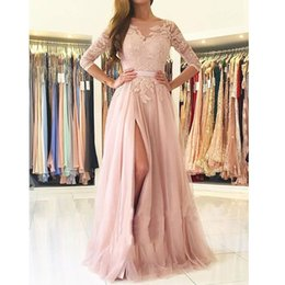 7e83df4c569 2019 New Fashion Blush Pink 3 4 Sleeve Lace Bodice A-Line Backless Prom  Dress With Slit Custom Made Party Gown Hot Sale