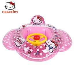 hello rings Promo Codes - Hello Kitty Children Swiming Ring Kid Girl Swiming Seat 70cm Safe Outdoor Funny Family game Small Kid Swim Pool Rings H62007