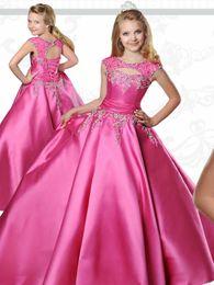 Küçük Çocuklar Pageant Elbiseler ile Gençler için Sabrina Boyun Kat Uzunluk Fuşya Tafta Balo Çiçek Kız Elbise ile Dantel Up nereden