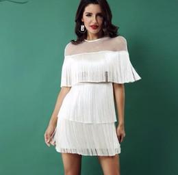 2019 red de vestidos 2019 noche de verano vestido de fiesta de las mujeres blanco negro de manga corta de malla sexy ahueca hacia fuera franja borla vestido Vestidos