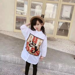 grandes vestidos de noiva estilo princesa Desconto 2019 crianças meninas manga comprida camisas vestidos baby girl moda impressão carta vestido de algodão roupas por atacado