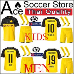 Kits de futebol preto amarelo on-line-BVB Borussia Dortmund crianças kit homens Liga dos Campeões versão Casa padrão preto amarelo REUS M GOTZE menino conjunto adulto 2019 2020 camisa de Futebol