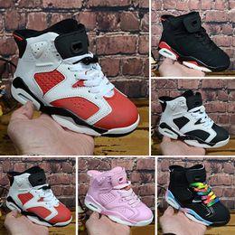Nike air jordan 6 retro Desconto atacado Crianças 6 sapatas de Basquete do bebê unc ouro preto vermelho kid 6 s Meninos Tênis Crianças Sports formadores baixos tamanho 28-35 cheap wholesale shoe for size 11 de Fornecedores de calçado grossista para tamanho 11