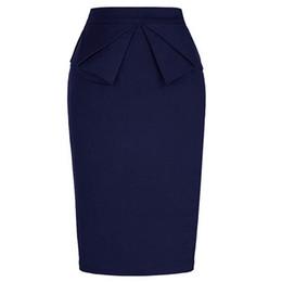 Vestidos de mujer de negocios equipados online-2019 Vestido vintage Vestido de mujer para trabajar Elástico Oficina Falda Lápiz Longitud de la rodilla Slim Fit Falda de negocios Cintura alta Jupe Femme