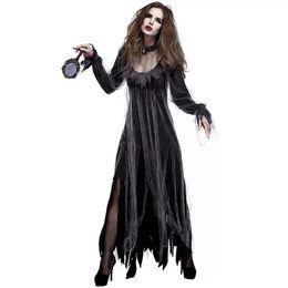 Costumi di film horror online-Costume da vampiro zombie horror di Halloween per donna Costume da raccapricciante raccapricciante nero Abbigliamento spaventoso per donne femminili