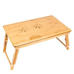 einfache wohnmöbel Rabatt 53cm Trendy Doppel Faltbare Blumen Gravur Muster Einstellbare Bambus Computer Schreibtisch Holz Farbe