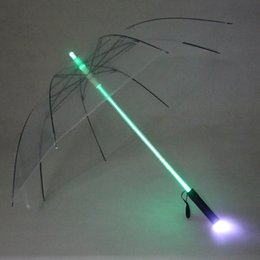 Ups regenschirm online-105cm LED Lichtschwert Light Up Umbrella Laserschwert Light Up Golfschirme Wechsel auf dem Schaft / Built In Torch Flash Umbrella 4 Color