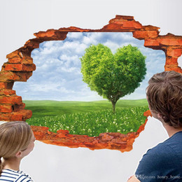 arte de parede espelho redondo Desconto Árvore em forma de coração Rio Cenário 3D Adesivo de Parede de Vinil Arte Mural para Sala de Crianças Sala de estar Sofá Decoração de Fundo