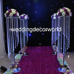 simples cenários de casamento Desconto 120 cm de Cristal Do Casamento Peça de Mesa Central de Cristal Decoração Do Corredor Da Flor Acrílico Mesa Lustre alto decor463