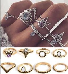 Maxi nonna chic Crown Diamond 8 pezzi anello set anello di coda supplier diamond chic da diamante chic fornitori