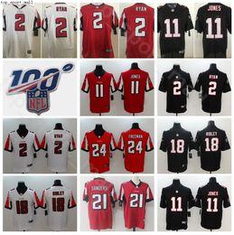 Jersey elite 24 online-Como Atlanta Fútbol Falcon 2 Matt Ryan Jersey Hombres 11 Julio Jones 24 Devonta Freeman 18 Ridley 21 Desmond Trufant Elite 100 aniversario