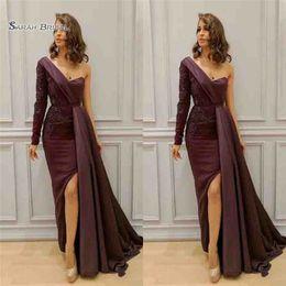 Zuhair murad dress floor en Ligne-2019 robes arabes robes de soirée une épaule appliques perles côté robe de soirée formelle manche longueur au sol longueur Zuhair Murad longues robes de bal