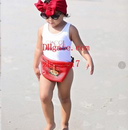 Macacões de alta qualidade on-line-Ins best selling high end one-piece bebê meninas macacões swimwear letra impressão maiô crianças roupas de praia 2T-8T guc-336
