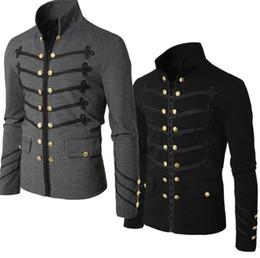moda gótica talla grande Rebajas Casual Men Outerwear Plus Size Gothic Military Parade Chaqueta Túnica Otoño Invierno Moda Hombre Negro Steampunk Army Coat