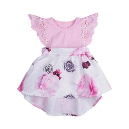 Kidlove Bebek Kız Moda Dantel Dikiş Pembe Çiçek Elbise Baskı Yumuşak Pamuk Prenses Elbise supplier stitching baby girl dresses nereden dikişli bebek kızı elbiseleri tedarikçiler