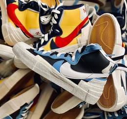 Envío libre auténtico Sacai X N Lanza Ke Medio Blazer Amarillo Rojo Varsity Maíz Blanco Azul Hombres Mujeres zapatos de baloncesto de las zapatillas de deporte desde fabricantes