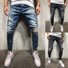 legging zerstört Rabatt 2019 Fashion Men´s Stretchy Ripped Röhrenjeans Destroyed Taped Slim Fit Leg Denim Pants