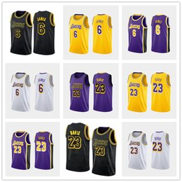 Camisas lk online-2019 hombres nuevos Los Angeles LeBron # 6 James # 23 Anthony Davis Purple City blanco amarillo blanco negro bordado Baloncesto Jersey camiseta Lk