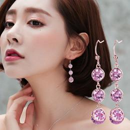 corea 14k de oro Rebajas diseñador de lujo joyas pendientes de mujer aretes de joyería pendiente de gota de agua colgante de cristal de diamantes de imitación modelo no. NE1050