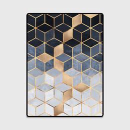 Tapis de tapis de cuisine noirs en Ligne-Mode Moderne Graduel Diamants Doré Noir Bleu Shading Porte / Tapis De Cuisine Salon Chambre Salon Tapis Tapis Décoratif