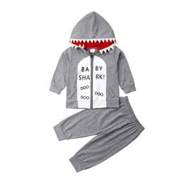 I pantaloni di squali dei ragazzi online-6M-4T Kids Baby Boy Cute Shark Top con cappuccio Felpe con cappuccio Pantaloni Leggings Abbigliamento Outfit Cotone Primavera Autunno Abbigliamento