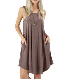 Estate 2019 hot style tinta unita borsa senza maniche casual sexy moda maglia t-shirt grande vestito altalena da swing sexy caldo fornitori