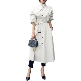 Корейский длинный плащ онлайн- Classic Trench coat Women long coat With Belt Office Elegant Slim Windbreaker fashion spring Autumn Outwear Korean clothes