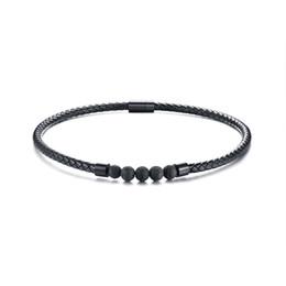 Relodi Edelstahl Magnetschnalle Vulkanstein Lederhalsband Schwarz Halskette Herren Schmuck SP3063 von Fabrikanten