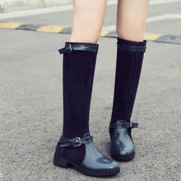 au-dessus des bottes au genou Promotion Bottes Femme Automne Hiver Cuir Cuir Bottes Chaussures Décontractées Automne Et Hiver Au-dessus du Genou Confortable Confortable